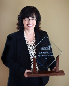 Cindy Sooter, Joplin Family Dental, Joplin, Mo is the 2014 recipient of the AADOM Office Manager of the Year Award