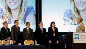 Varner (fourth from left) was installed as the 2013-2014 AAO president-elect at the AAO House of Delegates meeting in May 2013. Photo courtesy of AAO.
