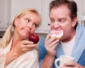 http://www.dreamstime.com/royalty-free-stock-photography-apple-vs-donut-healthy-eating-decision-image8333807