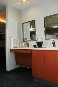 The redesign focused on the best utilization of square footage as possible, as is the case with this brushing station.